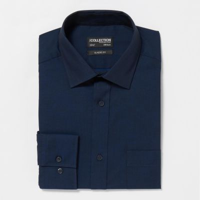 The Collection Navy Easy Iron Long Sleeves Classic Fit Shirt