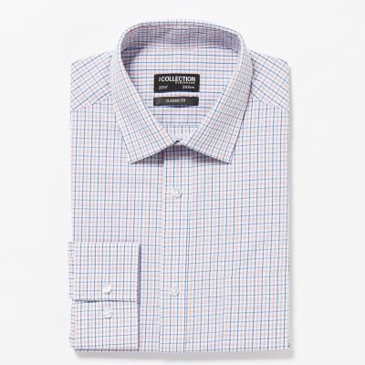 The Collection Orange Grid Check Long Sleeves Classic Fit Shirt