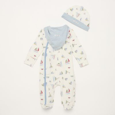 J by Jasper Conran Boys' White Boat Print Cotton Rich Sleepsuit With Hat and Bib
