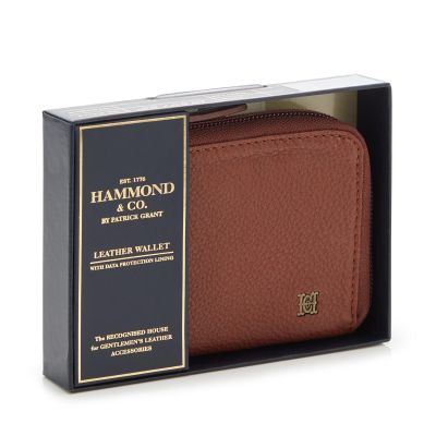 Hammond & Co. by Patrick Grant Tan Leather Data Protection Zip Around Wallet