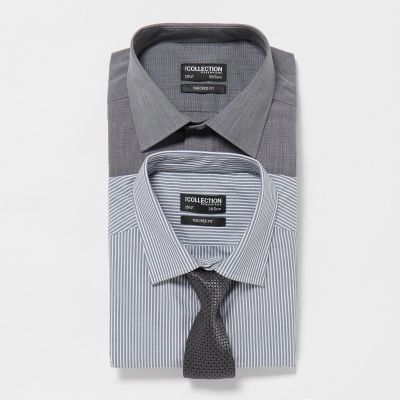 The Collection 2 Pack Grey Assorted Long Sleeve Tailored Fit Shirt and Tie Set