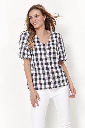 Mandco GINGHAM BUTTON BLOUSE