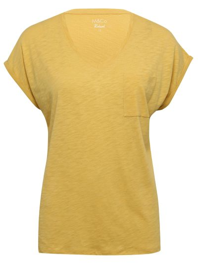Mandco TOP SS RELAXED V NK PLAIN